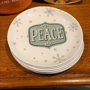 6pc New never used white peace salad plates.